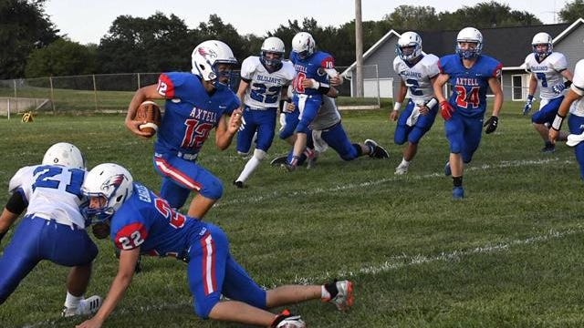 Axtell and Isaac Detweiler (12) knocked off Twin Valley League rival Hanover twice last season on their way to a runner-up finish in Eight-Man Division II.