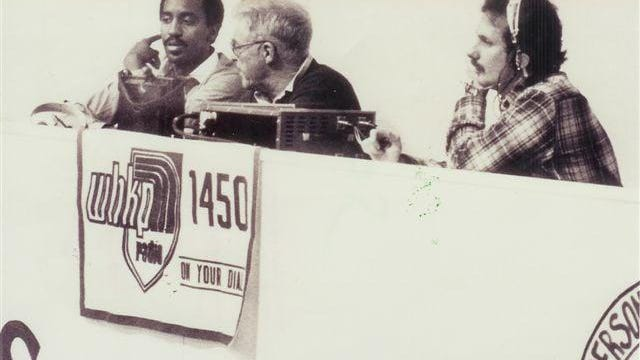 WHKP's Tippy Crewell, far left, broadcasts a game with the late Pete Williams, center, and Mike Edney in this photo shared on WHKP's Facebook page. It was taken in the early 1980s.