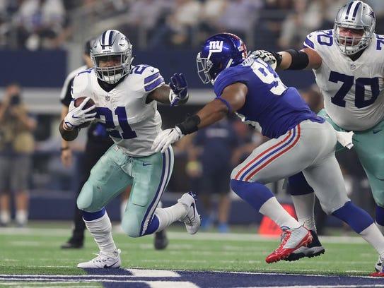 Sep 10, 2017; Arlington, TX, USA; Dallas Cowboys running