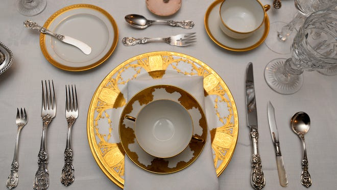 A place setting in the formal dining room at the Charles M. Bair Family Museum in Martinsdale.