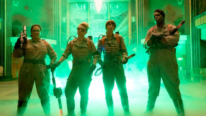 "Melissa McCarthy, Kate McKinnon, Kristen Wiig and Leslie Jones in ""Ghostbusters."""