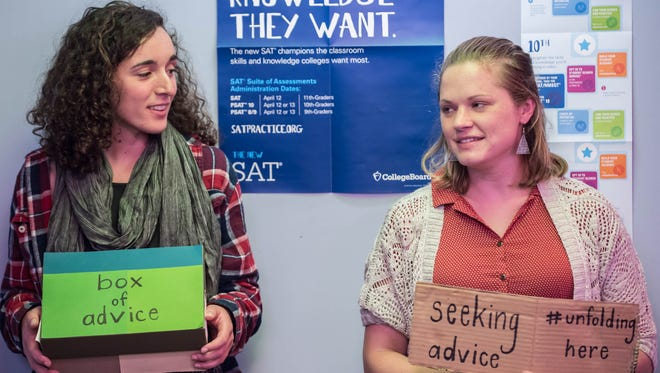 Devi Lockwood, left, and Caroline Catlin stopped by West Michigan Virtual Academy Aug. 24 to talk about taking advice from strangers.