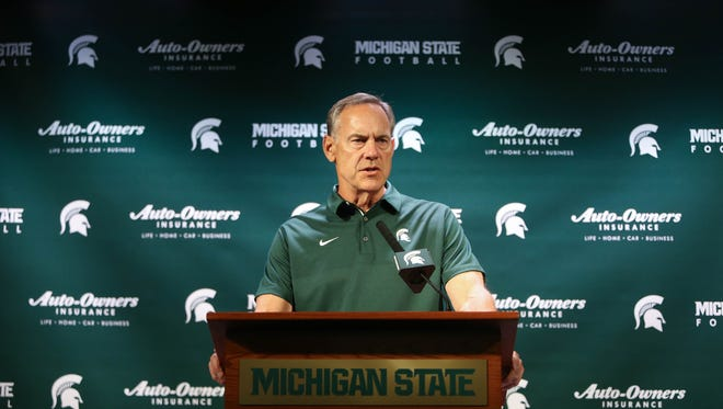 Michigan State head coach Mark Dantonio talks with reporters Monday, August 7, 2017 at Spartan Stadium in East Lansing.
