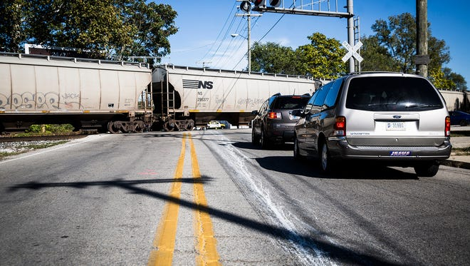 A train stops traffic on Kilgore Avenue in this file photo.