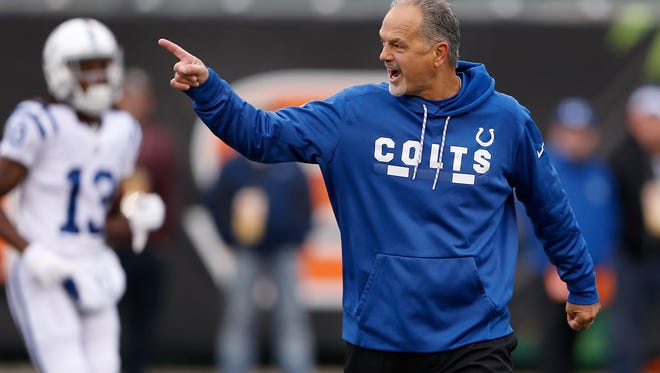 Indianapolis Colts head coach Chuck Pagano at Paul Brown Stadium in Cincinnati on Sunday, Oct. 29, 2017.