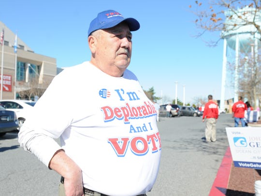 """John Creamer, wore his """"I'm Deplorable and I vote"""" t-shirt to the polls today at The Roland E. Powell Convention Center in Ocean City, Nov. 8, 2016."""
