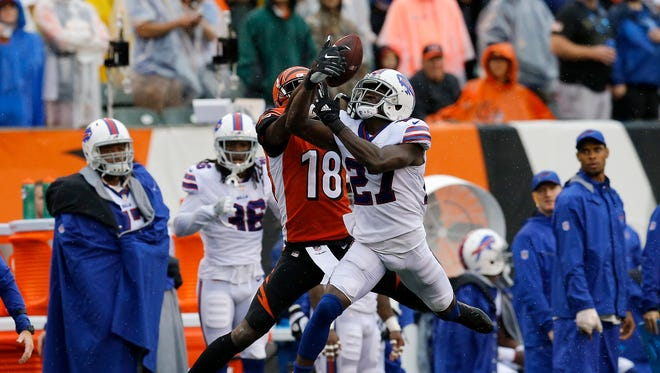 Buffalo Bills cornerback Tre'Davious White (27) breaks up a pass intended for Cincinnati Bengals wide receiver A.J. Green (18) in the second quarter of the NFL Week 5 game between the Cincinnati Bengals and the Buffalo Bills at Paul Brown Stadium in downtown Cincinnati on Sunday, Oct. 8, 2017.