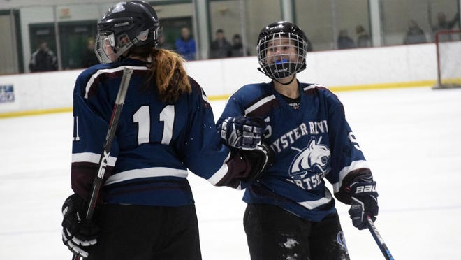 Oyster River/Portsmouth's Laura Dreher, right, of Oyster River High School, was picked to represent Team New Hampshire at the 2020 Make-A-Wish All-Star Hockey Classic. The event has been canceled due to COVID-19 restrictions.