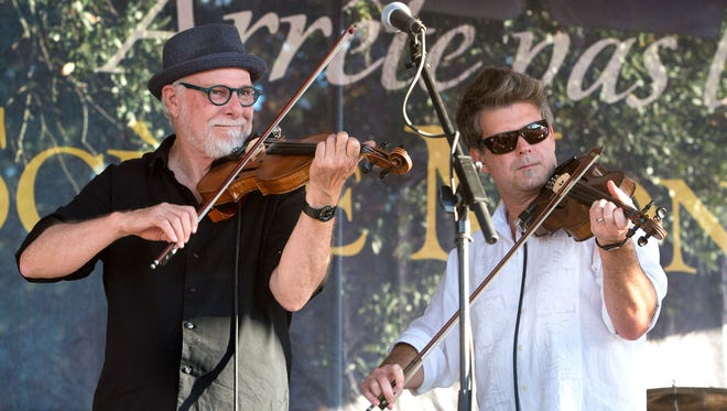 David Greely, left, and Steve Riley play at the 2015 Festival Acadiens et Creoles.
