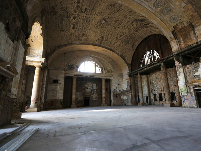 A view inside of the Michigan Central Station in Detroit