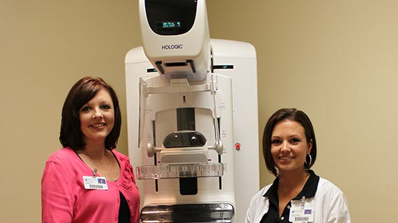 Vikki Jordan, RT (R)(M), Mammographer at Navarre Medical Park on the left. Gretchen Hinote RT (R)(M)(MR), Mammographer and Manager of Women's Services at Baptist Hospital on the right.