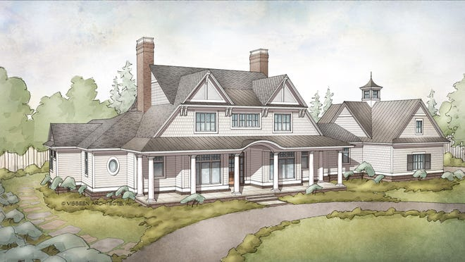 A wide, welcoming porch gives curb appeal to this elegant home.