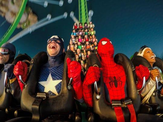 Superheroes test their mettle on the Incredible Hulk coaster