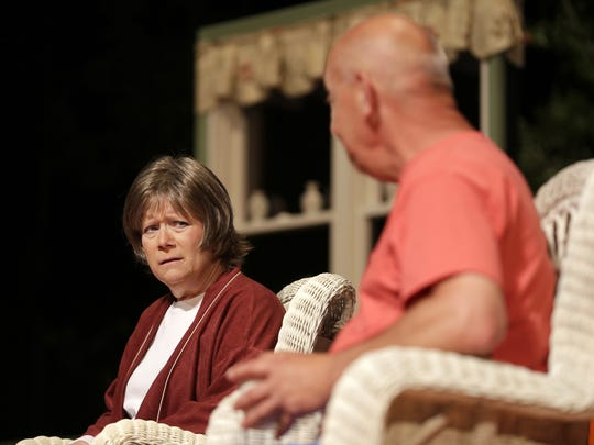 "Nancy Ernst and Fran St. Andre rehearse the opening scene of Attic Theatre's production of ""Vanya & Sonia & Masha & Spike""  Monday at UW-Fox Valley in Menasha."