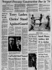 The front page of the Tuesday, Dec. 3, 1968 Evening