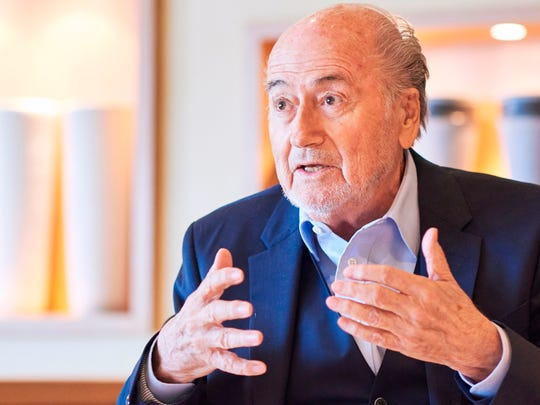 Former FIFA president Sepp Blatter gives an interview to news agencies on April 21.