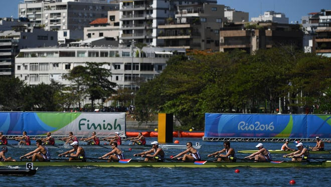 The U.S. men's eight rowing team competes Saturday in the Rio 2016 Summer Olympic Games.