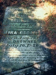 Orrin Osgood, born August 11, 1830 Ira Osgood, born August 23, 1834 Drowned July 16, 1850 Rest brothers in thine ocean bed . . .  Burial stone in Black River