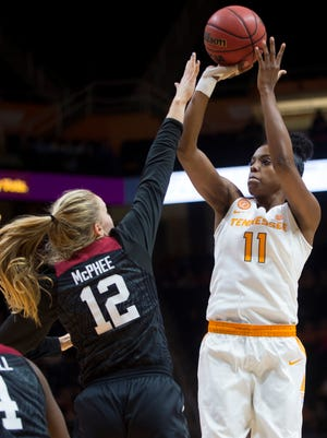 Tennessee's Diamond DeShields attempts a shot during the first half against Stanford at Thompson-Boling Arena on Sunday.
