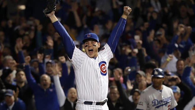 Cubs first baseman Anthony Rizzo (44) reacts after Chicago beat the Los Angeles Dodgers in Game 6 of the NLCS on Saturday night.