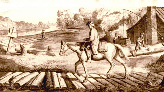 A plank road, like the one shown here, stretched between Sheboygan and Fond du Lac for about nine years in the mid-1800s. The roads were notoriously rugged and didn't last long.