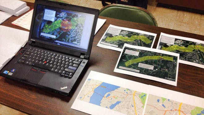 Area residents have been organizing against a proposal to replace miles of the Algonquin pipeline in Rockland, Westchester and Putnam. A display of their materials is shown at a workshop in Peekskill earlier this month.