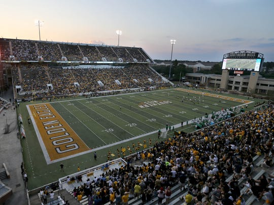 A general view of M. M. Roberts Stadium during the game between the Southern Miss Golden Eagles and the North Texas Mean Green. Mandatory Credit: Chuck Cook-USA TODAY Sports