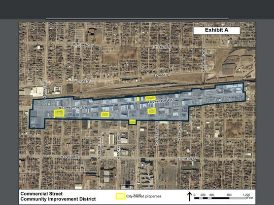 A map shows the proposed boundaries of the Commercial Street Community Improvement District. Yellow lots are owned by the city of Springfield.
