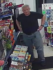 Manitowoc police said the suspect in an armed robbery at the Manitowoc Dollar Tree store Sunday also robbed a Dollar Tree in North Greenbush, New York, last week. Pictured is a still from surveillance video in the North Greenbush incident.