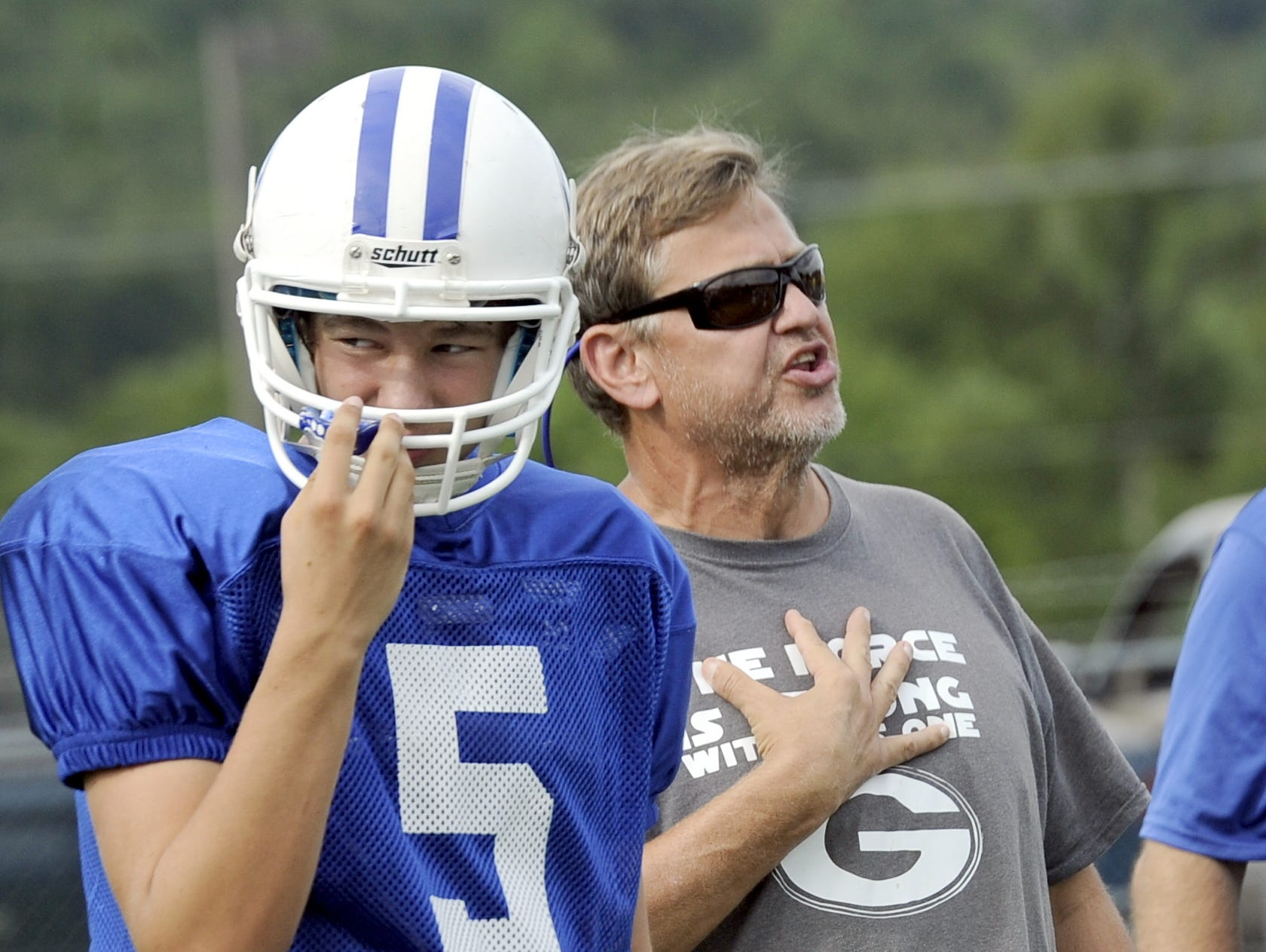 Gordonsville coach Ron Marshall instructs his defense during a recent practice.