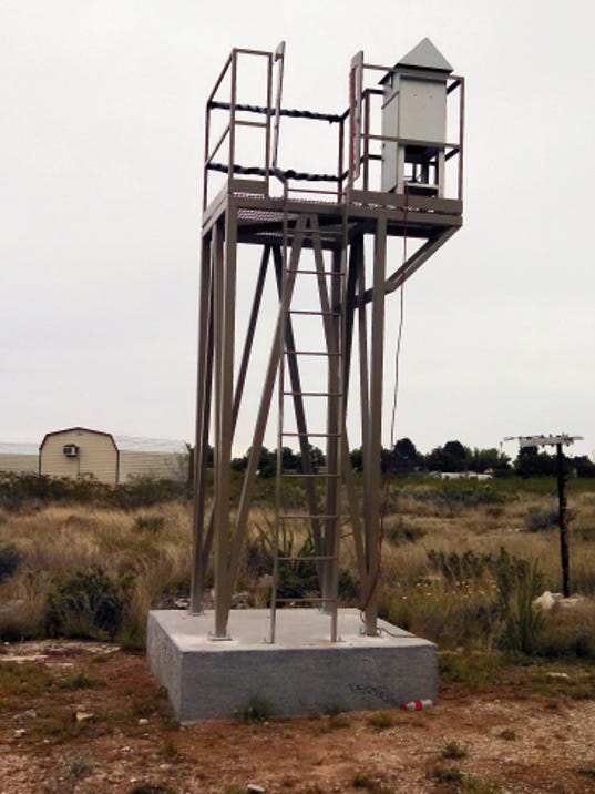 Photo Courtesy of the .Carlsbad Environmental Monitoring and Research Center   One of CEMRC's new sampling towers.