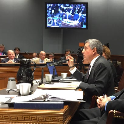 Commissioner of Administration Jay Dardenne speaks to the Joint Legislative Budget Committee Saturday.
