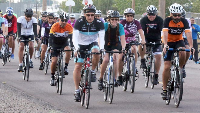 Cyclists start off on the 25-mile race during the third annual Cycle For Change bike race at Gallegos Park in Canutillo Sunday.