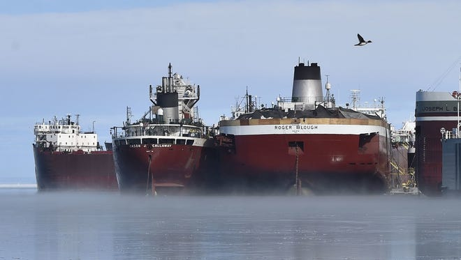 Some of the freighters waiting to depart the Sturgeon Bay Harbor after winter layup and maintenance was completed March 10, 2018..