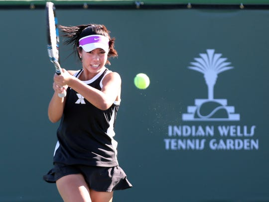Xavier Prep's No. 1 singles player Tiani Jadulang in action against Redlands at the Indian Wells Tennis Garden on Wednesday, November 2, 2016 in Indian Wells.