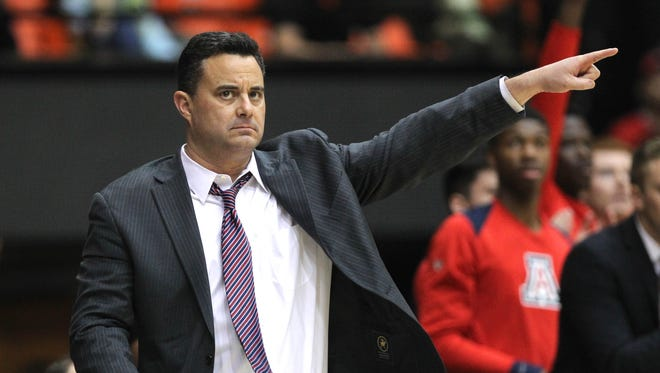 Feb 22, 2018; Corvallis, OR, USA;  Arizona Wildcats head coach Sean Miller directs his team in the first half against the Oregon State Beavers at Gill Coliseum. Mandatory Credit: Jaime Valdez-USA TODAY Sports