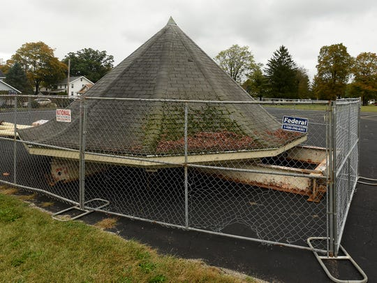 The gazebo, formerly located on the Courthouse Square in downtown Newark, is being stored in a county-owned parking lot on East Main Street, near where it will be relocated.