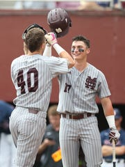 Mississippi State sophomore second baseman Justin Foscue and senior right fielder Elijah MacNamee (40) are leaving the Lone Star State with a series victory over Texas A&M. Foscue had two RBI in Game 3 of the series.