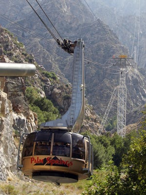 The Palm Springs Aeriel Tramway on its way up the mountain. If you're in town over the Easter weekend, start the day early on Easter morning with a trip up Mount San Jacinto. The Palm Springs Aerial Tramway's annual sunrise service starts at 5 a.m. on April 16 with songs of faith, hope and joy by the Abie & Bert Duo, along with a special inspirational Easter message by Rev. Robert Sneed.