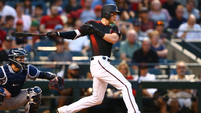 Arizona Diamondbacks outfielder Jeremy Hazelbaker hits a single in the fifth inning against the Cleveland Indians on Apr 8, 2017 at Chase Field.