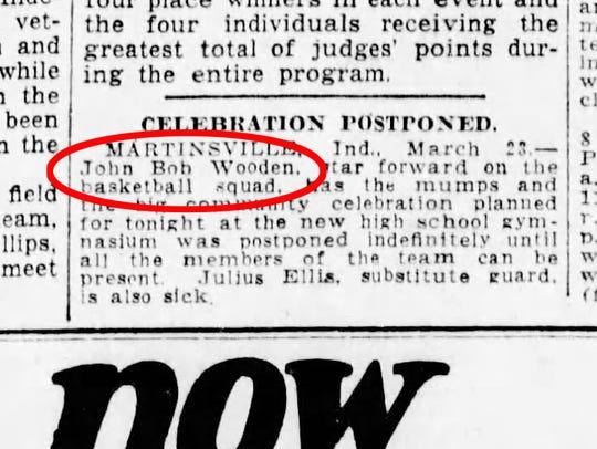 """""""MARTINSVILLE, Ind. — John Bob Wooden, star forward"""
