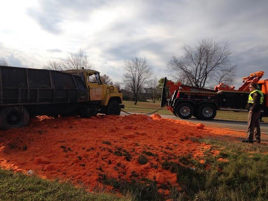 A Michigan Freeze Pack truck spilled its load of carrots