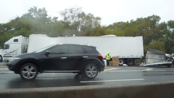 The tractor-trailer damaged when it struck the Hutchinson River Parkway East Third Street bridge on Oct. 16, 2014. The southbound lanes were closed for a good part of the morning rush for removal of the truck.