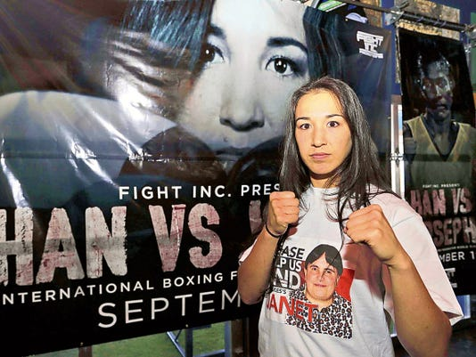 El Pasoan Jennifer Han stands ready to fight against Helen Joseph at the Don Haskins Center on September 19th, for the IBF Featherweight title.
