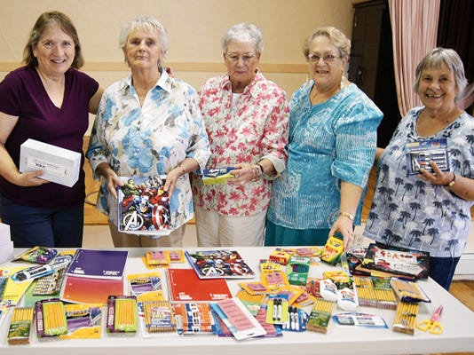 The Silver City Woman's Club is collecting school supplies for local students. Donations may be dropped off at the Woman's Club building on Mondays from 1 to 3 p.m. until Aug. 31. Members of the club include, from left, President-Elect Karan Turner, Gail Dunnigan, Vice President Carol Vaughan, Rentals Chair Lucinda Maddox, and Community Outreach Chair Vera MacGregor. Randal Seyler - Sun-News