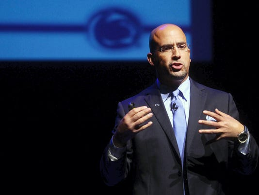 Penn State football head coach James Franklin speaks during the Manufacturers' Association annual meeting Wednesday at the Pullo Center at Penn State York.