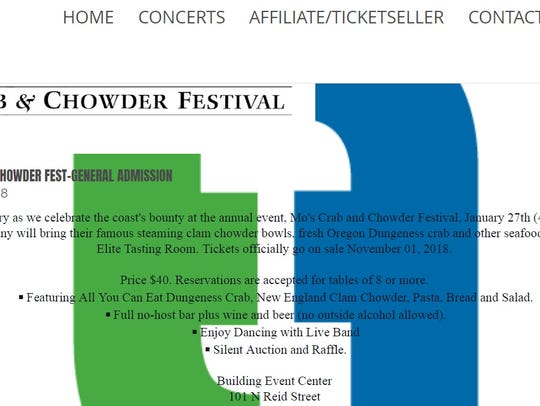 """A now-defunct web page advertising """"Mo's Crab and Chowder Festival"""" in Sioux Falls. The page for the non-existent event was removed after the poster was contacted by Argus Leader Media."""