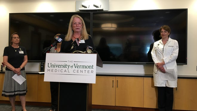 UVM Medical Center President Eileen Whalen addresses the concerns of a looming nurses' strike at a press conference on Tuesday, July 10, 2018.