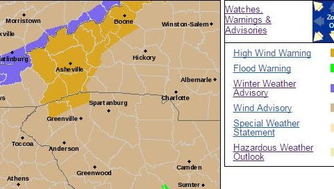 A wind warning is in effect for Western North Carolina from 8 a.m. Thursday April 6, 2017 to 8 p.m. Friday April 7, 2017.