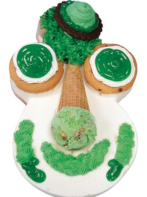 Carvel's Cookie O'Puss ice cream cake.